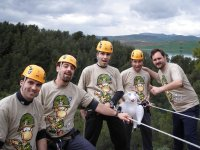 Bachelor party rappelling