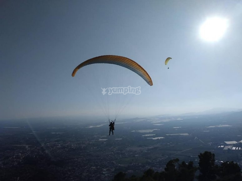 Paragliding flights by simultaneous paragliding Alhama de Murcia