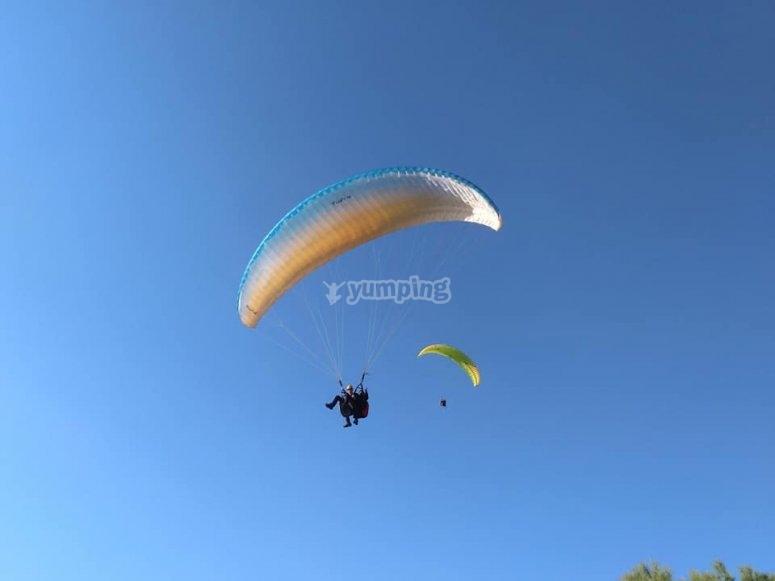 Simultaneous paragliding flight experience