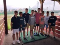 Students in golf lessons forenex camp