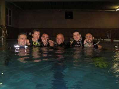 Pool diving baptism in Lloret de Mar