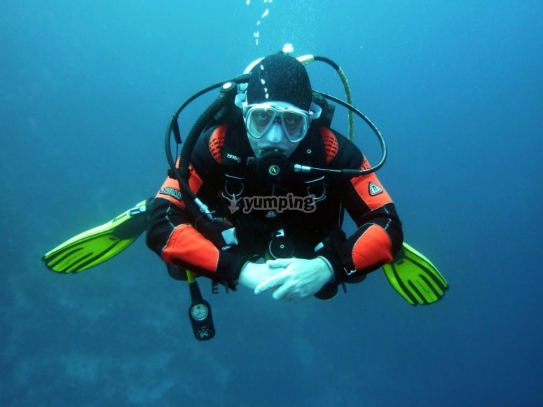 Diver with diving equipment