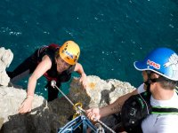 Coasteering in the mallorquines in the cliffs.