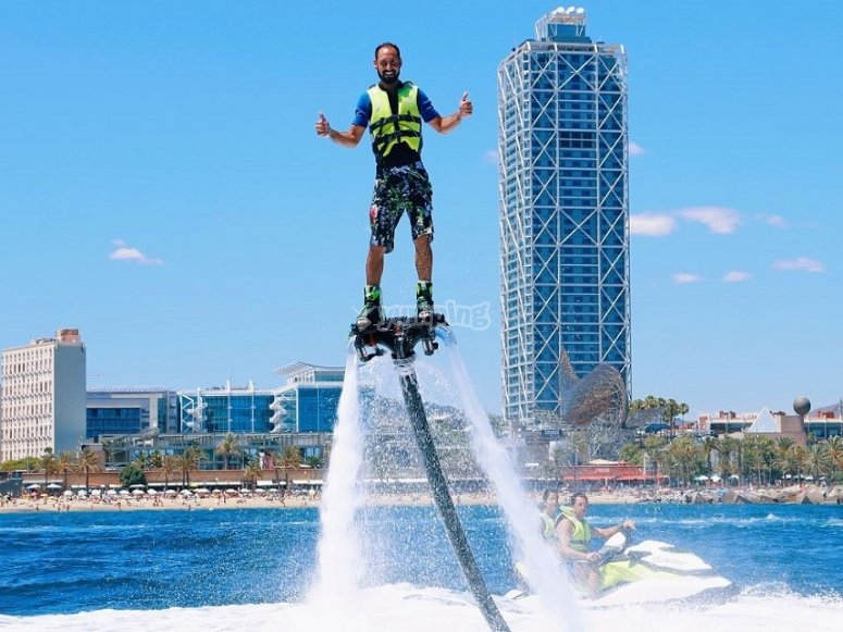 On the flyboard in Barcelona