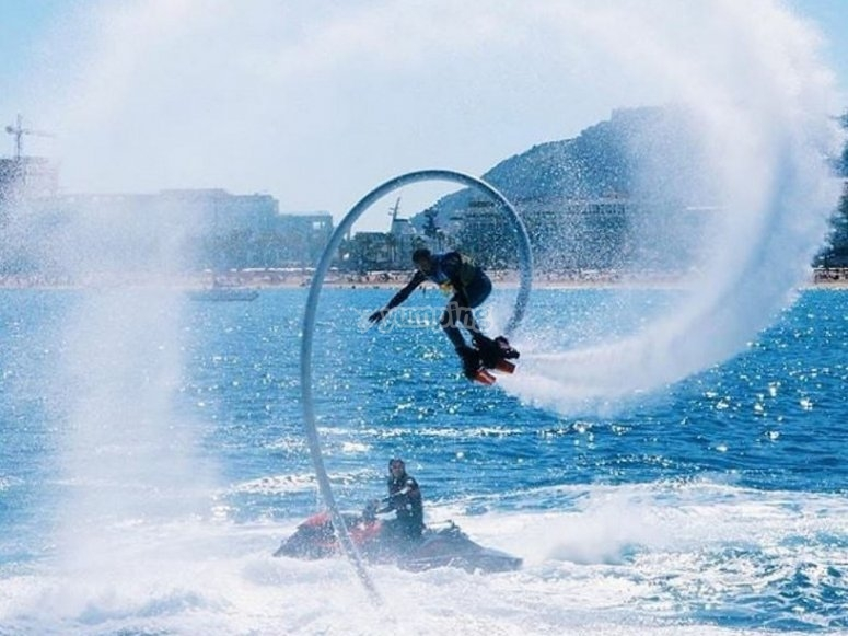 Flyboarding in the Port Olimpic