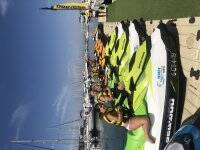 On the jetty on jet skis