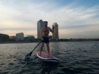 Sup in front of Port Olimpic