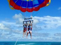 Descending in the parasailing