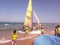 Aprendiendo a navegar durante el campamento