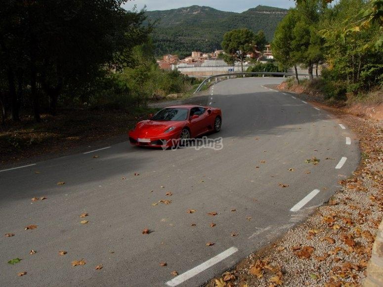 Ferrari F430 rodando en carretera