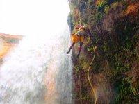 Descending a waterfall