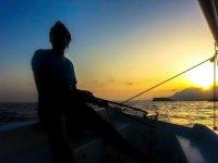Sail in a boat