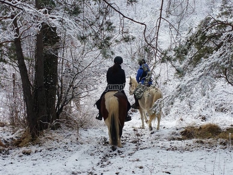 A caballo en ruta de invierno