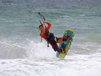 Flying with kite board