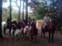 Grupo de ruta con caballos y ponys para peques