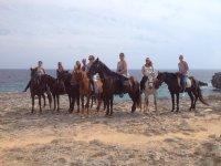 Horse riding trip on the beach