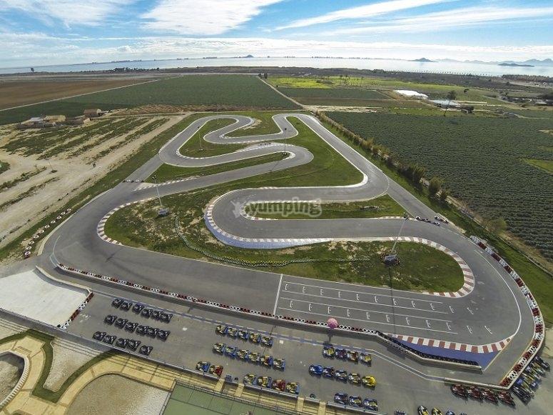 Aerial views of the karting circuit in San Javier