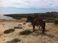 Acercandose hasta la costa a caballo