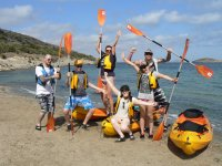 Stop on the beach with the canoes