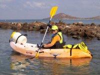 Canoeist in individual boat