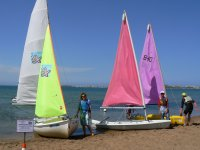 Sailboats for classes on the beach