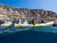 Submarinistas en Cala Santanyi