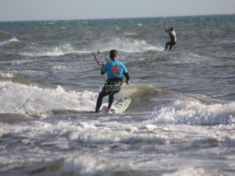 Practicando kite
