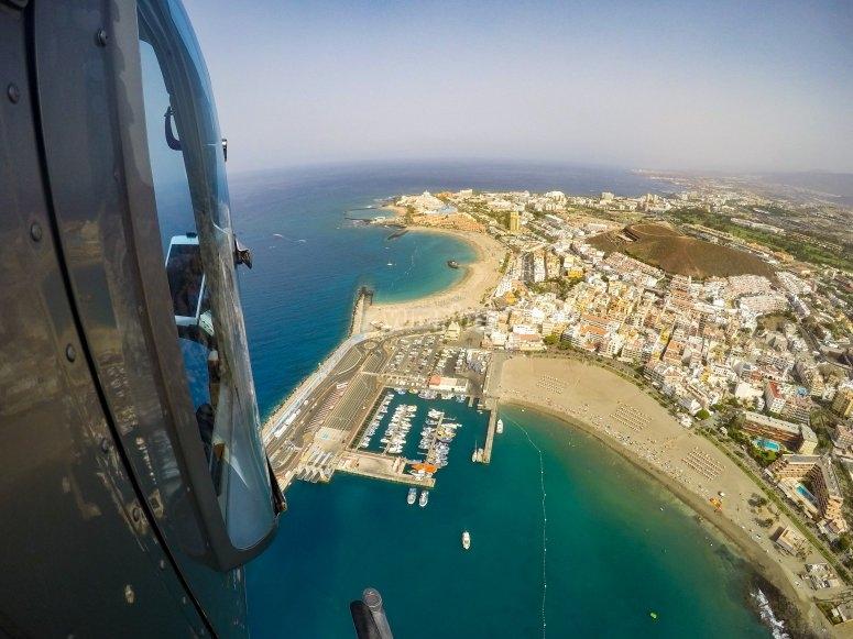Desde la cabina del helicóptero