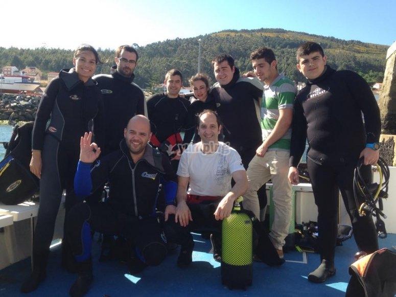 Grupo preparado para inmersion