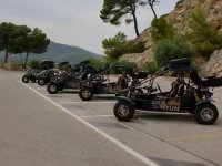 The buggies ready to go