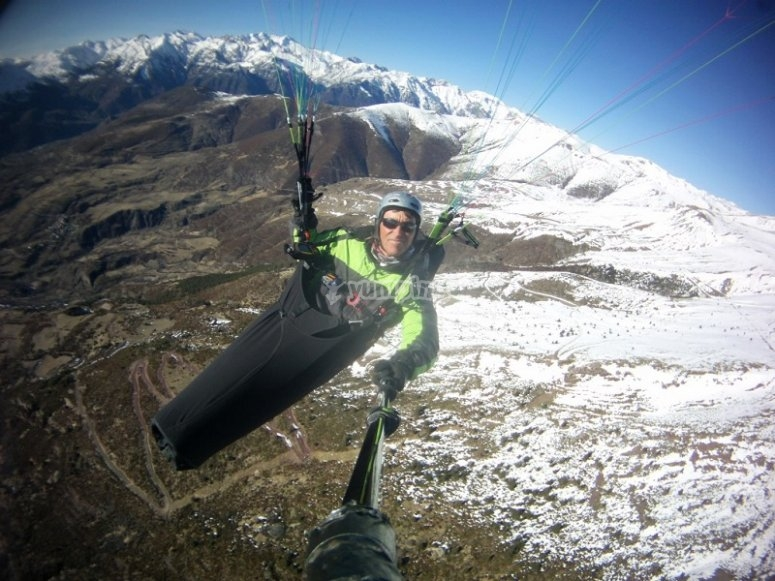 Paraglide over the snow