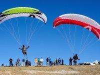 Paraglides landing