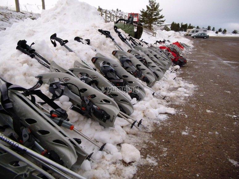 雪靴和拐杖