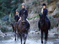 Pasando el río con los caballos