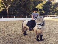 Niña sobre el pony