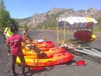 Preparing the kayaks