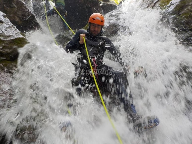 Going down through the waterfall