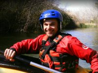 Con la pala en el kayak