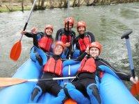 Friends doing rafting in Ciudad Rodrigo