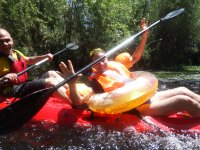 In kayak with float