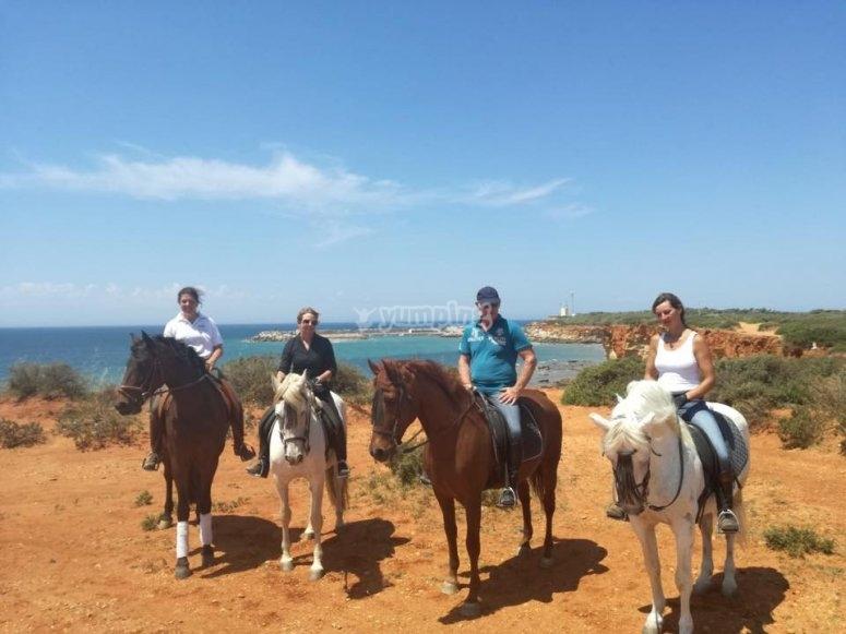 Route through the beach by horse