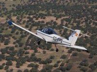 Airplane during flight in Badajoz