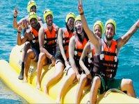 On the banana boat in Barcelona