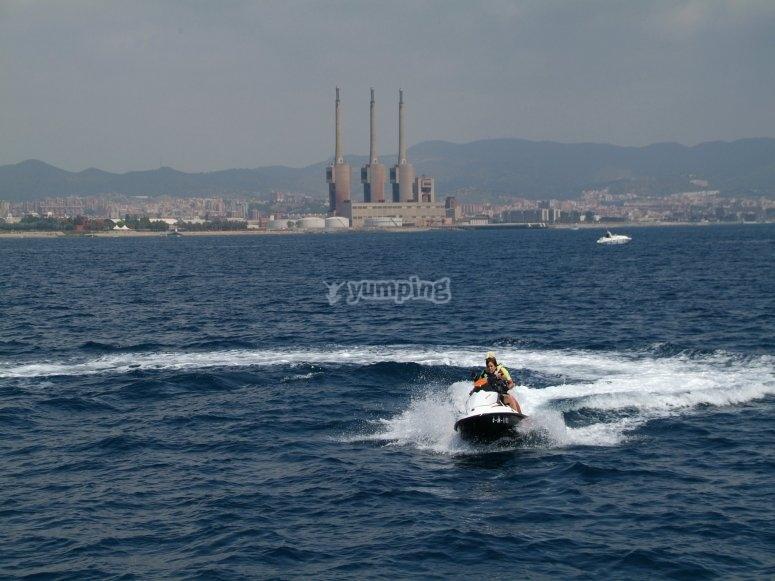 Jet skis through Barcelona