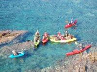kayaks on the cliff