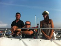 Tripulantes del barco en Pontevedra