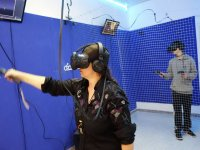Player in virtual reality room