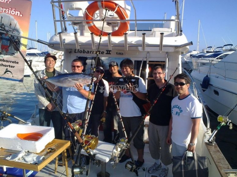 Con los aparejos de pesca