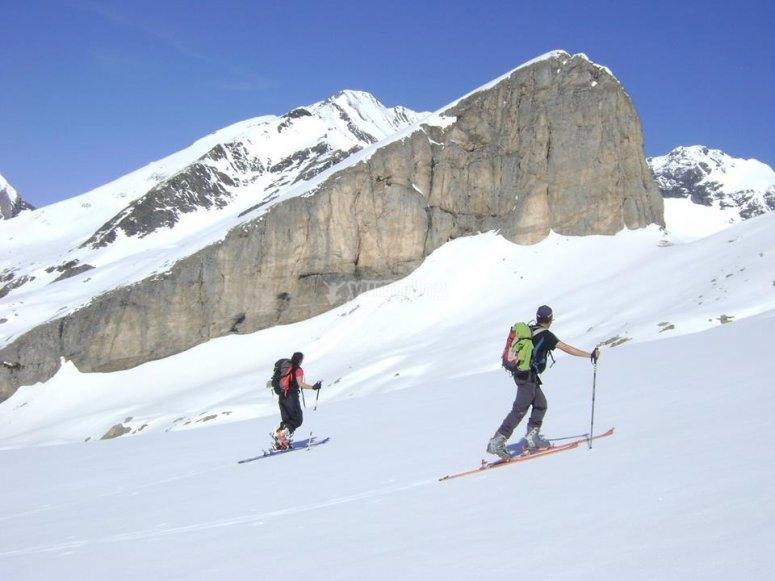 Sesion de esqui de fondo