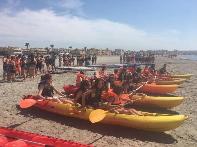 Prepared kayaks for sailing